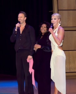 Jacqui Harper with Strictly dancers Natalie Lowe and Ian Waite